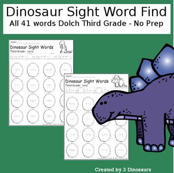 Dinosaur Sight Word Find: Third Grade