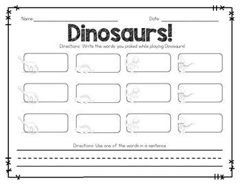 Dinosaur Sight Word Game