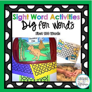 Dinosaur Sight Word Editable Game Activity for Kindergarten