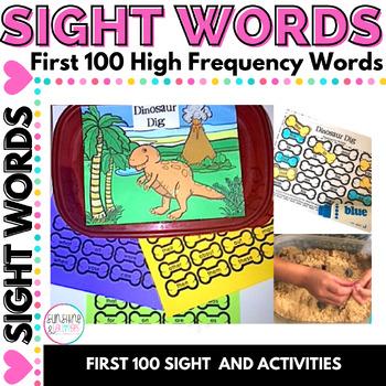Sight Word Game for Kindergarten Dinosaur Theme Editable Sheets