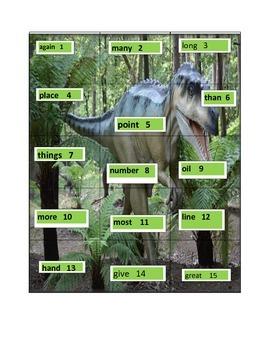Dinosaur Sight Word Puzzles (second grade)