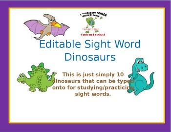 Dinosaur Sight Word Templates - 10 Templates by Tailored By Jessica ...