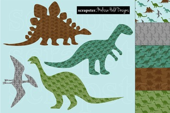 Clipart: Dinosaur Silhouettes Clip Art and Background Patterns