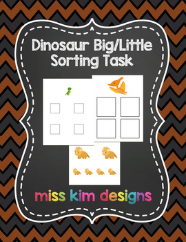 Dinosaur Size Sorting Folder Game for students with Autism