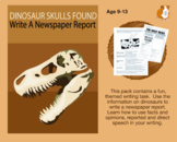 Dinosaur Skulls Found: Write A Newspaper Report (9-13 years)