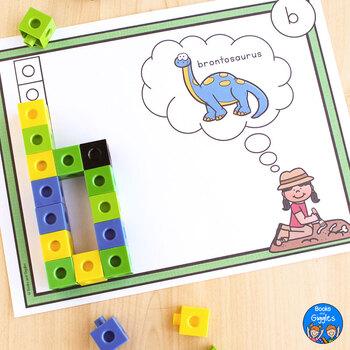 Dinosaur Snap Cube Alphabet Mats
