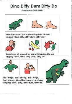 Dinosaur Song Board - Dino, Dum, Ditti, Doo (Tune:  Here S