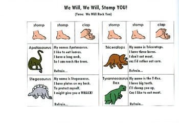 Dinosaur Song Board - We Will, We WIll Stomp You