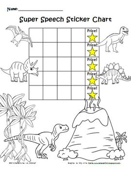 Dinosaur Speech Sticker Chart & Coloring Page