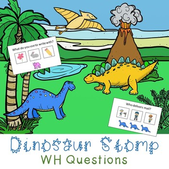 Dinosaur Stomp WH Question or Open Ended Game - with Low Prep Options!