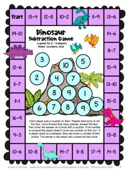 Dinosaur Math Subtraction Games Freebie: Subtraction Math Board Games