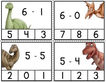 Dinosaur Subtraction Clip Cards