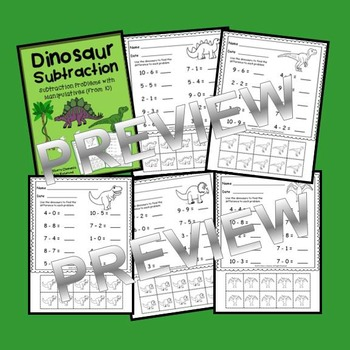 Dinosaur Subtraction with Manipulatives (from 10)