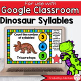 Dinosaur Syllables Game for Google Classroom Distance Learning