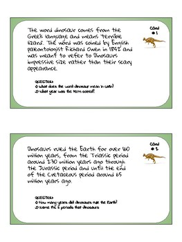 Dinosaur Task Cards: Free this week only-please rate!