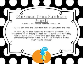 Dinosaur Teen Number Scoot