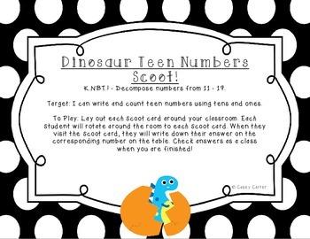Dinosaur Teen Number Scoot