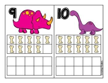 Dinosaur Ten Frames 1-20