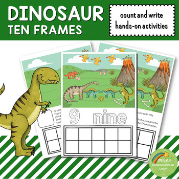 Dinosaur Ten Frames Count and Write Activities