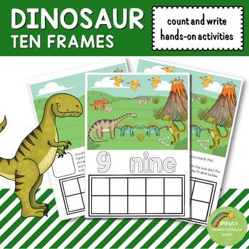 dinosaur ten frames count and write activities by pinay homeschooler