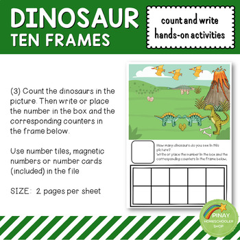 Dinosaur Ten Frames Count and Write Activities
