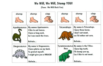 Dinosaur Thematic Unit/Song Boards/Math/Language