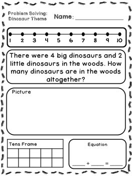 Dinosaur Theme Addition & Subtraction Word Problems (Kindergarten/First)