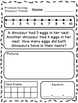 Dinosaur Theme Addition & Subtraction Word Problems ...