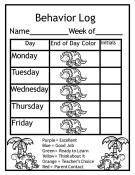 Behavior Management System (Dinosaur Behavior Management Clip Chart)
