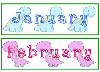 Dinosaur Themed Calendar Set