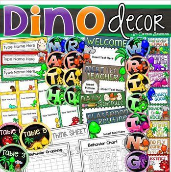 Dinosaur Theme Class Decor Bundle (Behavior Chart, Name Plates, Labels, Signs)