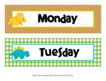 Dinosaur Theme Days of the Week Calendar Headers