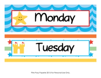 Beach Theme Days of the Week Calendar Headers