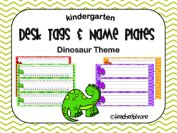 Dinosaur Theme Desk Tags and Name Plates