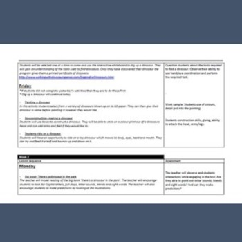 Dinosaur Theme- Dinosaur lesson plans/unit work