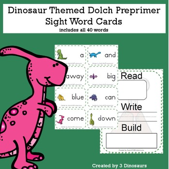 Dinosaur Theme Dolch Preprimer Sight Words