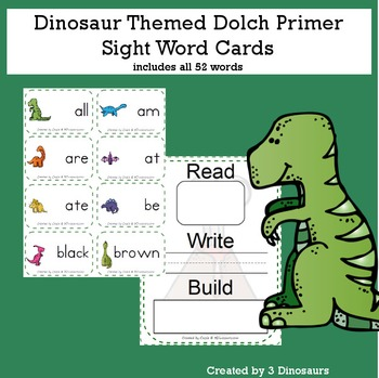 Dinosaur Theme Dolch Primer Sight Words