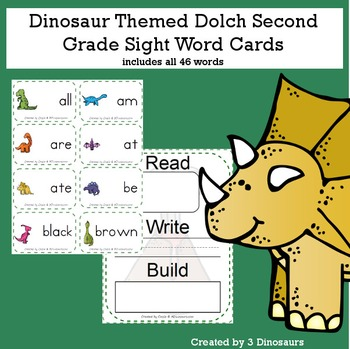 Dinosaur Theme Dolch Second Grade Sight Words