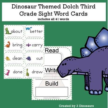 Dinosaur Theme Dolch Third Grade Sight Words