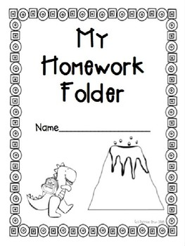 Dinosaur Theme Homework Folder Cover