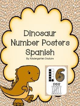 Dinosaur Theme Number Posters -Spanish