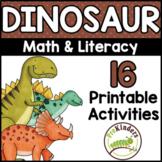 Dinosaur Theme Printable Activities Pre-K, Preschool, Kindergarten