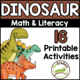 Dinosaur Theme Printable Activities Pre-K, Preschool, Kind