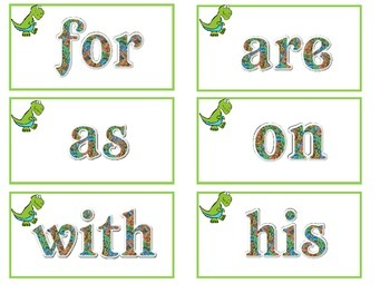Dinosaur Theme Word Wall Words Fry First 25 Freebie