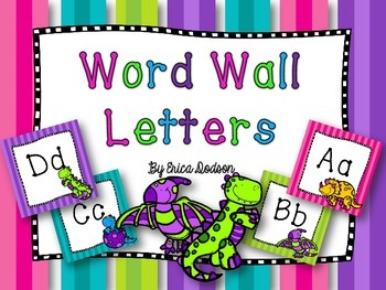 Dinosaur Themed Alphabet Word Wall Letters {Bright Neon Stripes}