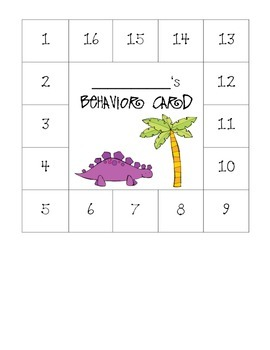 Dinosaur Themed Behavior Card