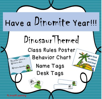 Dinosaur Theme Classroom Rules Poster, Clip Chart, Name Tags