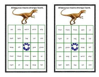 Dinosaur Themed Bingo Game- Sight Words for Grade 2