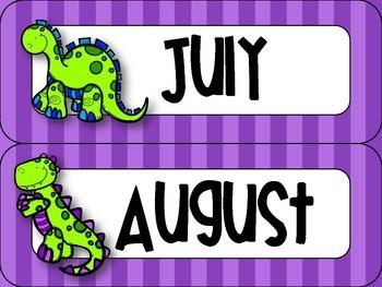 Dinosaur Themed Classroom Calendar Set {Bright Neon Stripes}