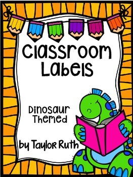 Dinosaur Themed Classroom Supply Labels FREEBIE